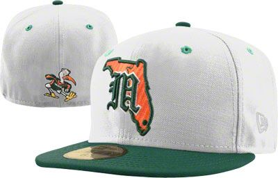 newest b78ba 2c760 Miami Hurricanes White New Era 59FIFTY Old English FLA Fitted Hat
