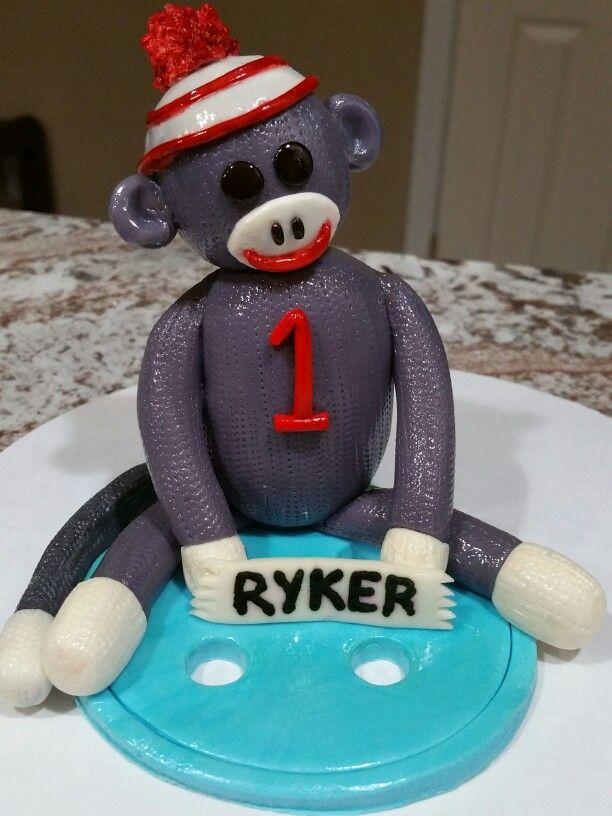 Sock Monkey 1st Birthday Cake Topper