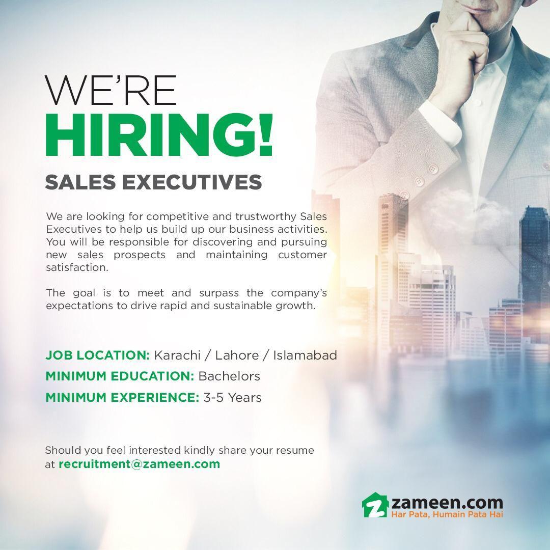 Jobs in Zameen com Pvt  Ltd  2019 Sales executive Jobs in Lahore