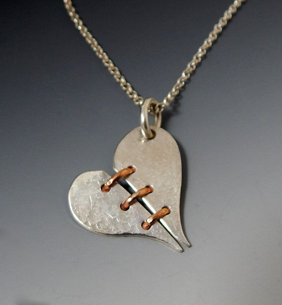 Sterling Silver And Rose Gold Broken Heart By