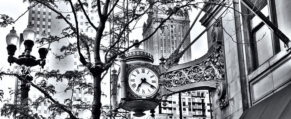 Marshall fields clock black and white photo