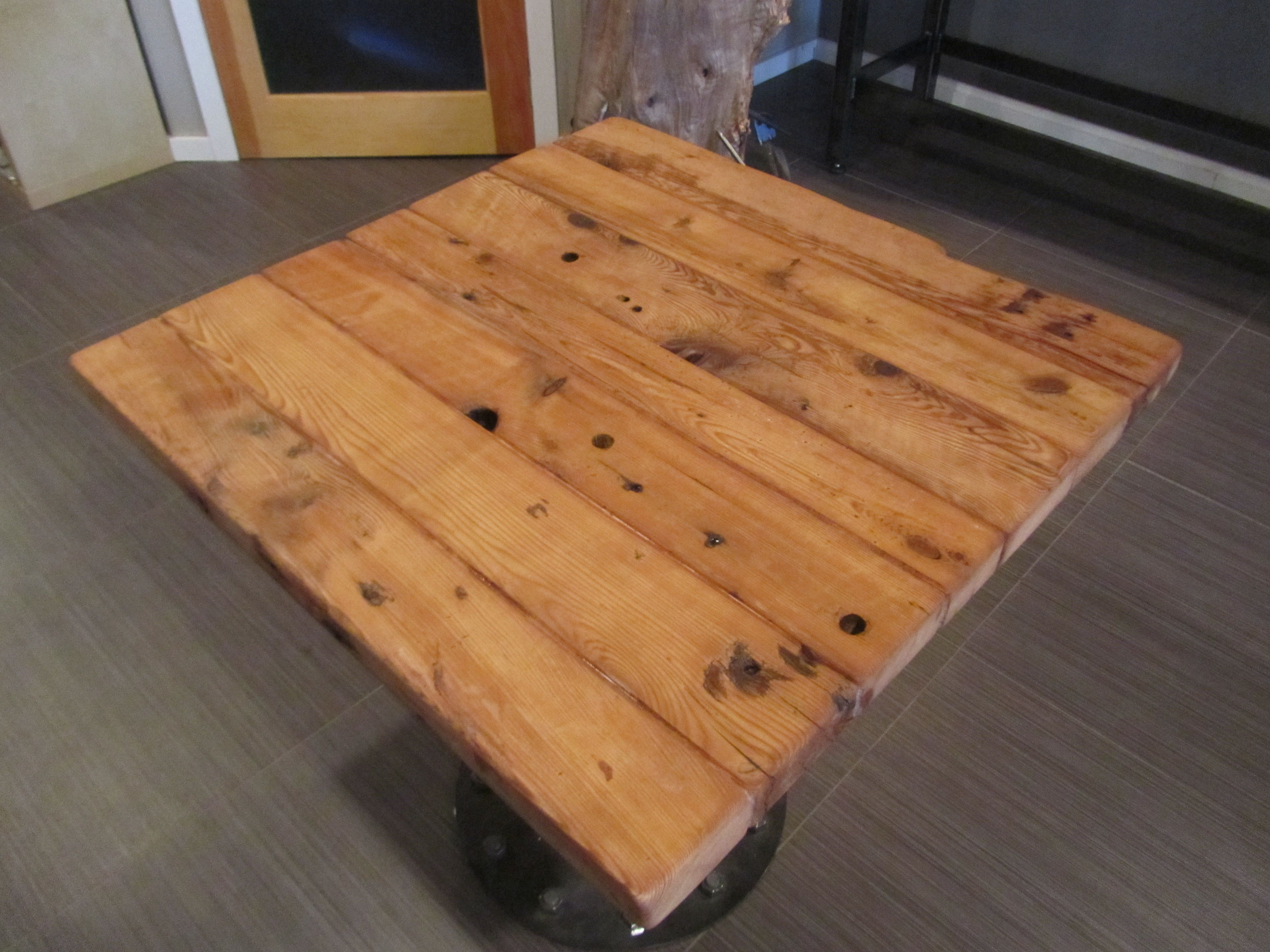 Restaurant Table Reclaimed Pine Top With Round Industrialstyle Base - Restaurant table tops and bases