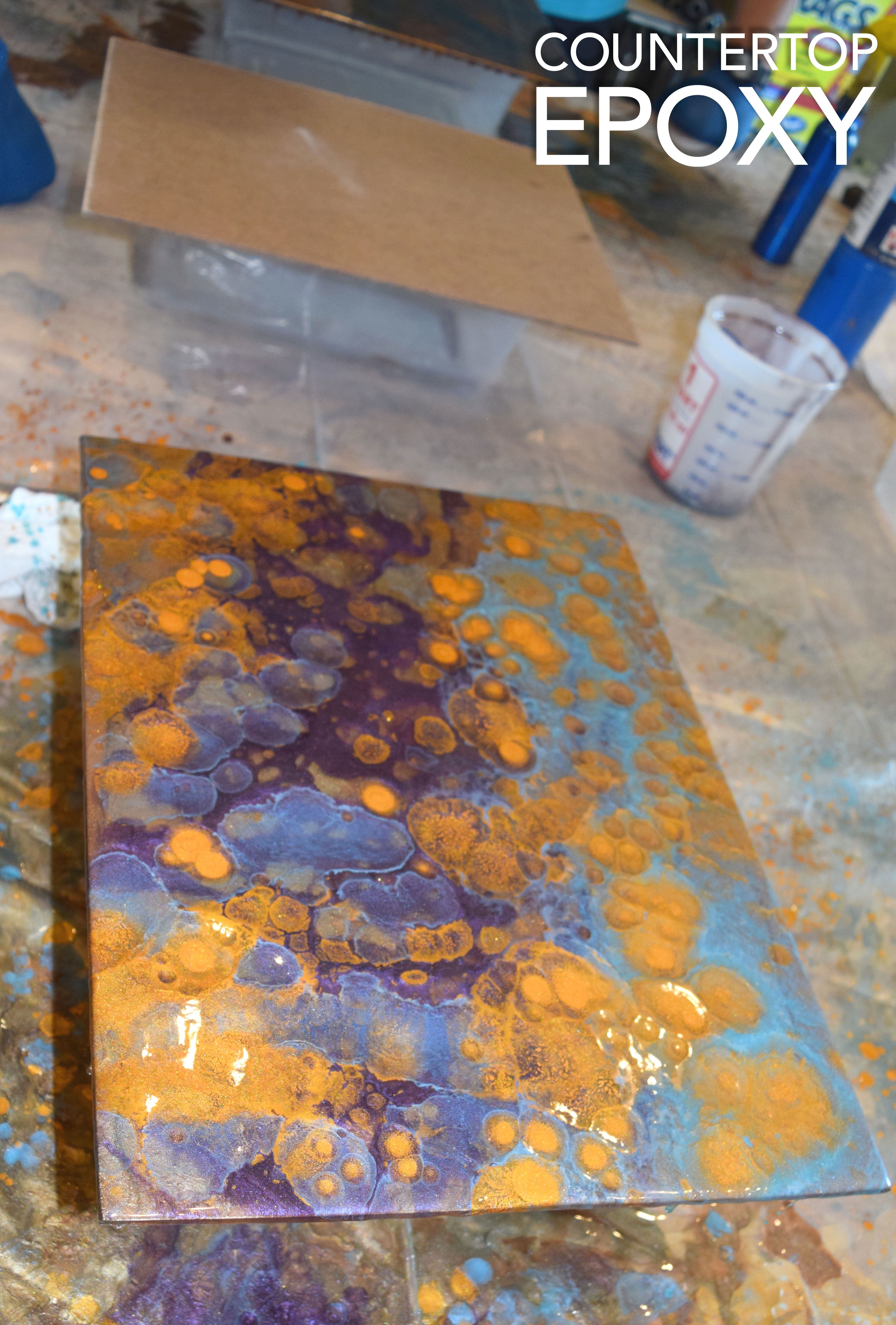 Workshop Countertop Purple Turquoise And Gold Resin Sample Created At The