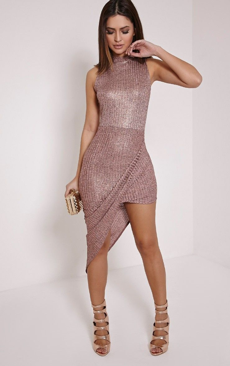 Prim Rose Gold Lurex Asymmetric Drape Dress - Dresses - PrettylittleThing | PrettyLittleThing.com