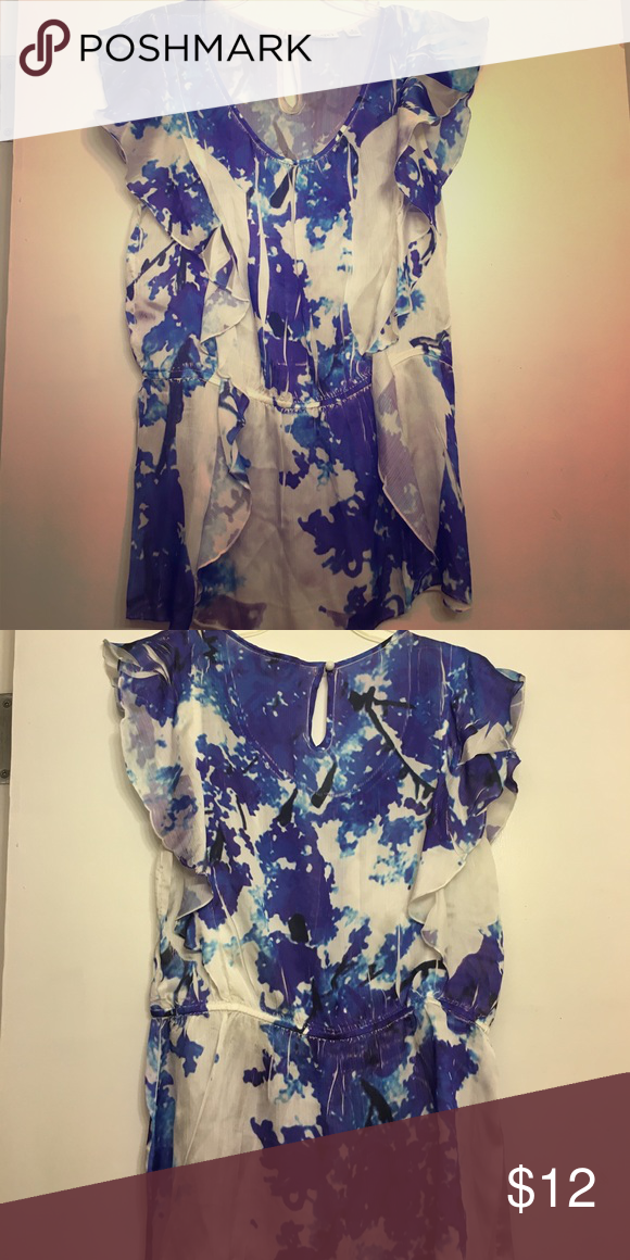 Flowey purple and white silk blend Blouse size M Clean, smoke and pet free home. Open to questions/offers. Cato Tops Blouses