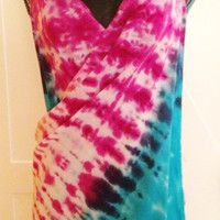 Turquiose, Pink, and Coral Hand Tie Dyed Wrap Beach Cover Up