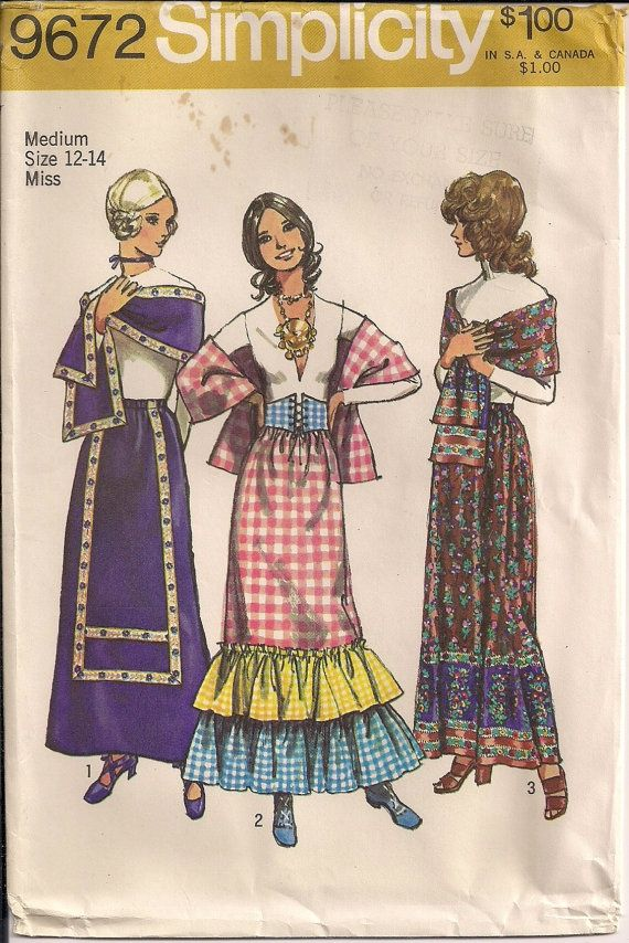vintage 1970s Bohemian / Folk inspired long skirts with corset belt ...