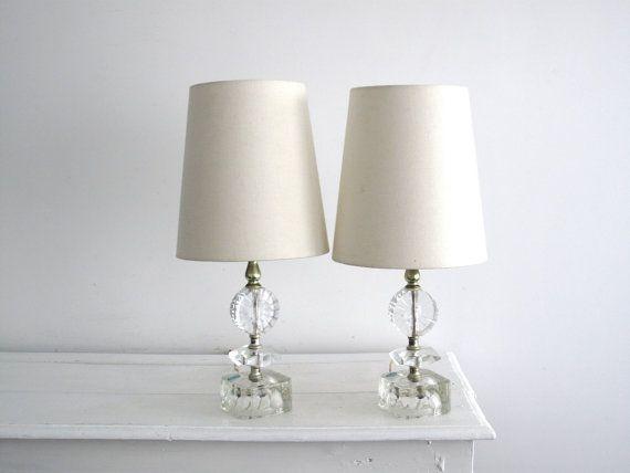 Attractive 1960u0027s Lighting   Pair Of Crystal Bedside Lamps   Set Of Mid Century Desk  Lights   Two Lights