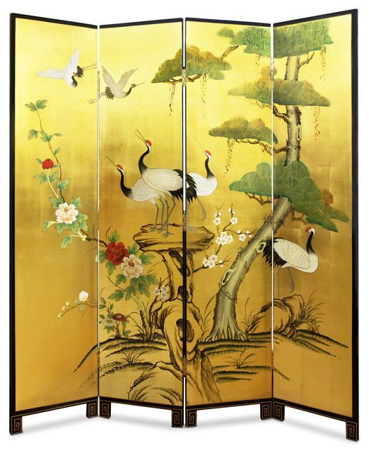 Exceptional Hand Painted Gold Leaf Floor Screen Asian Screens And Room Dividers