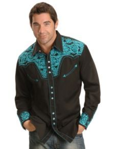450ad6777d Scully Turquoise-hued Embroidery Retro Western Shirt
