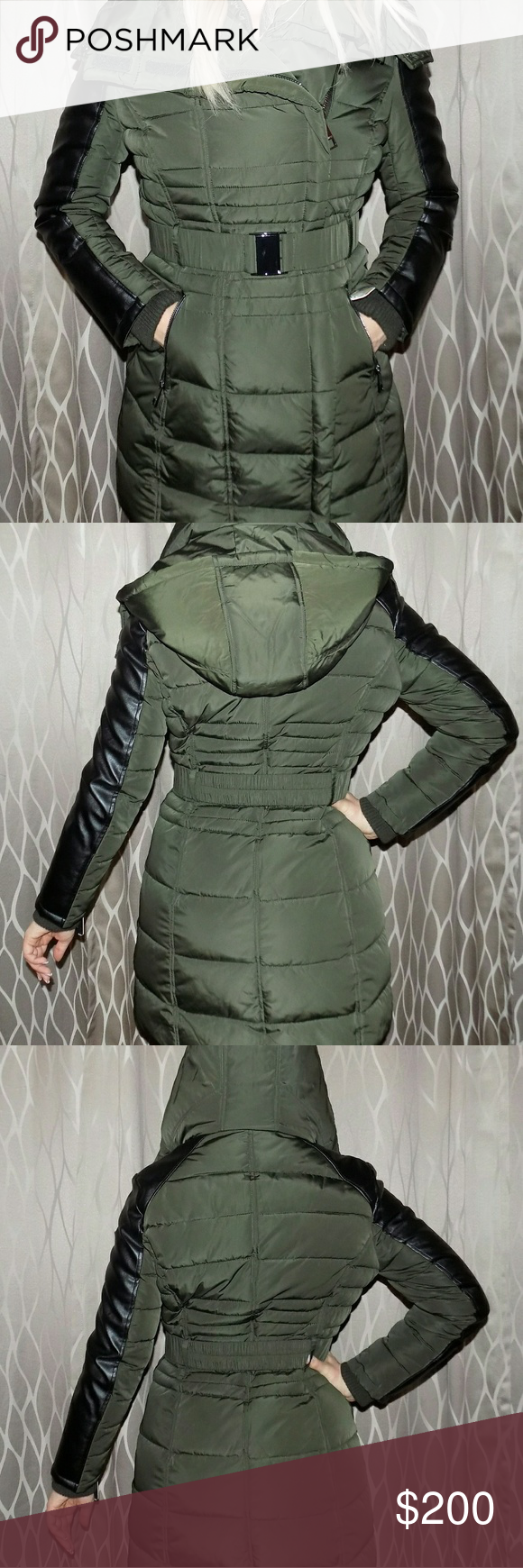 pretty cheap dependable performance clearance sale Guess puffer coat Olive green long puffer coat with black ...