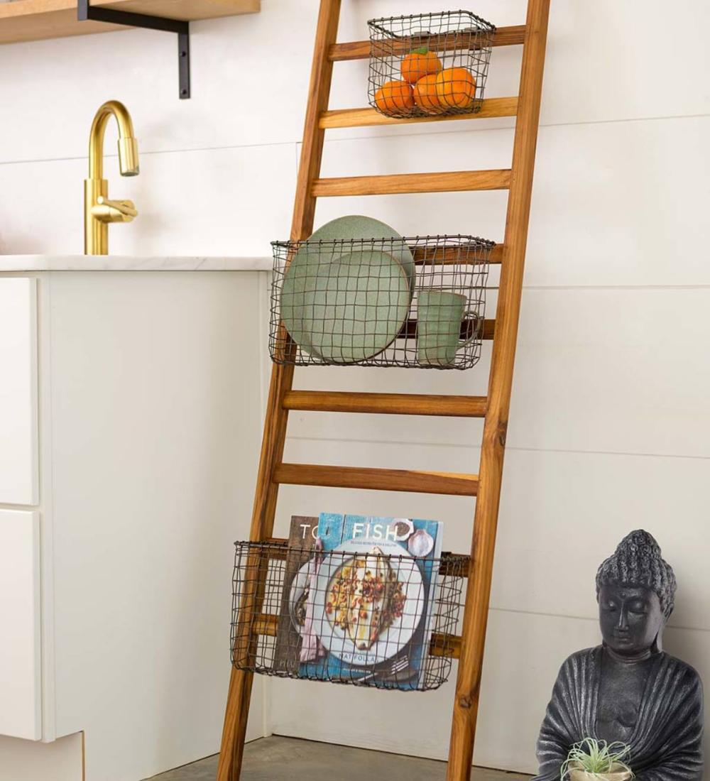 Teak Wall Ladder With Wire Baskets Vivaterra Teak Wall Wall Ladders Decorative Storage