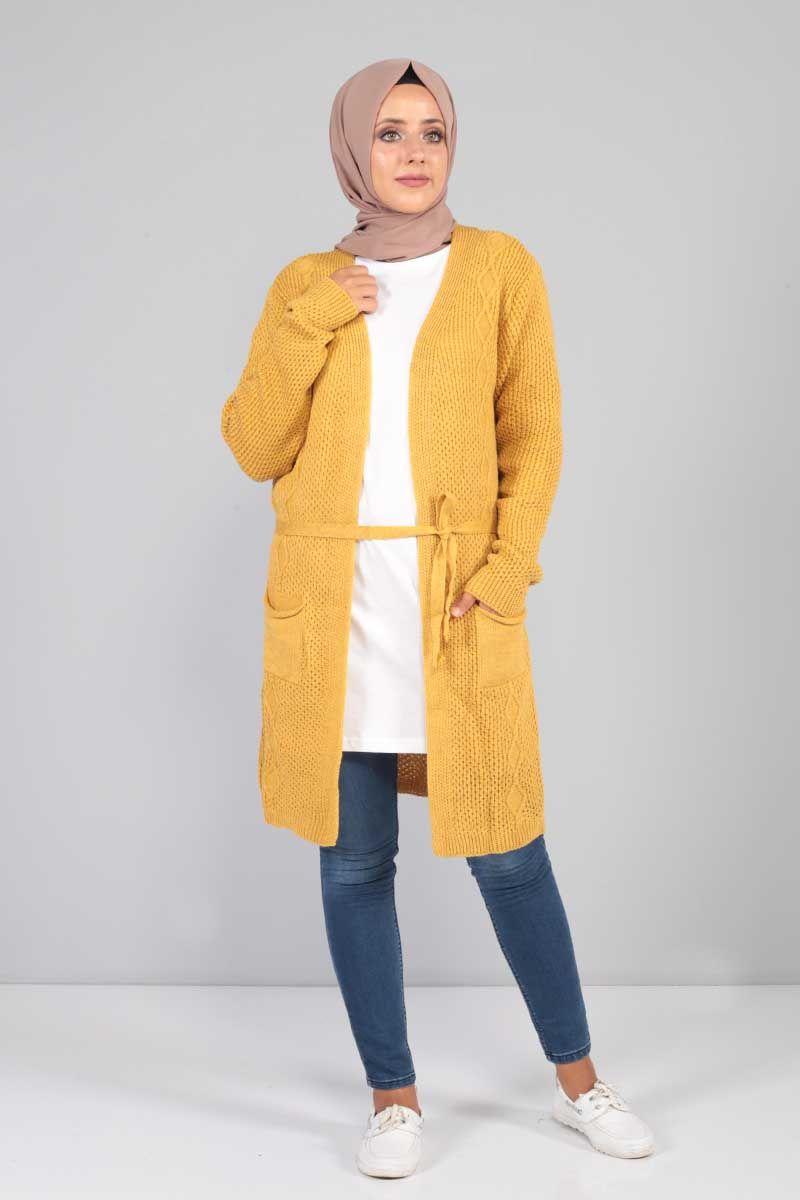 01a49a52a5fb6 Tesettür Dünyası Örgü Desen Hırka Modelleri - Moda Tesettür Giyim ...