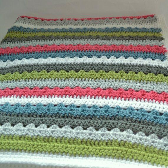 Crochet Blanket, Boys Blanket, Granny Stripe Blanket, Red and Blue ...