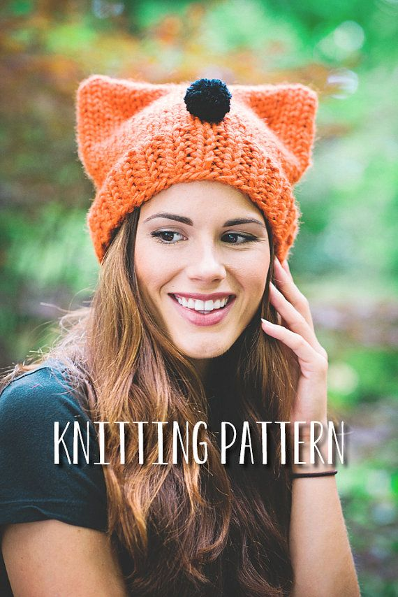 Easy Hat Knitting Pattern Cat Ear Beanie Pdf Knitting Pattern