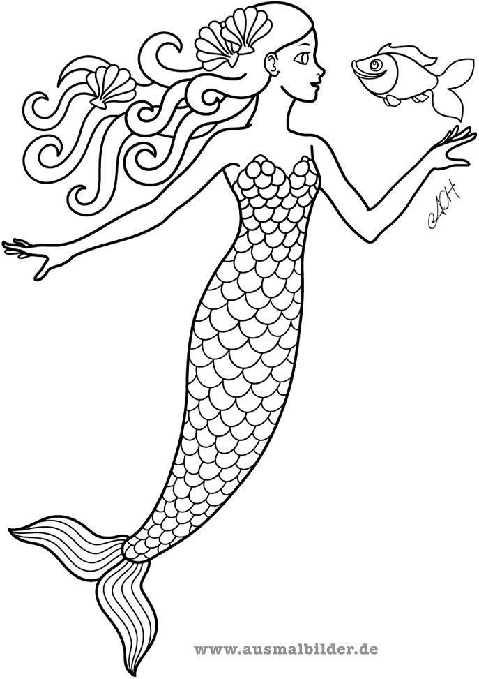 Meerjungfrau Ausmalbild Kostenlose Ausmalbilder Ausmalbilder Gratis Ausmalbilder
