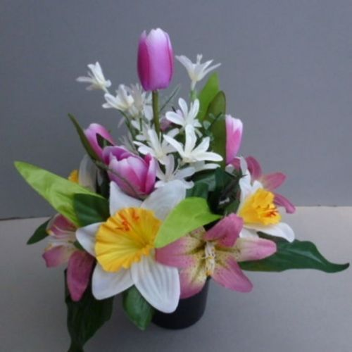 Pot for memorial vase with artificial daffodils, lilies | Flower ...