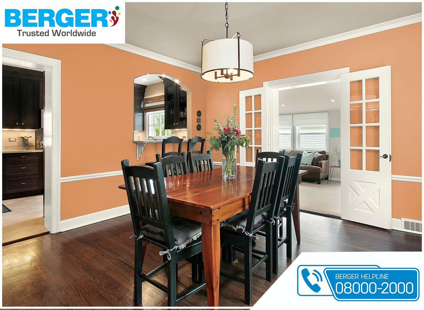 Try Peach Country Of Elegance Emulsion In Your Dining Room ~ Berger Paints # Paints #paint #color #colour #LivingRoom #decor #BergerPaints
