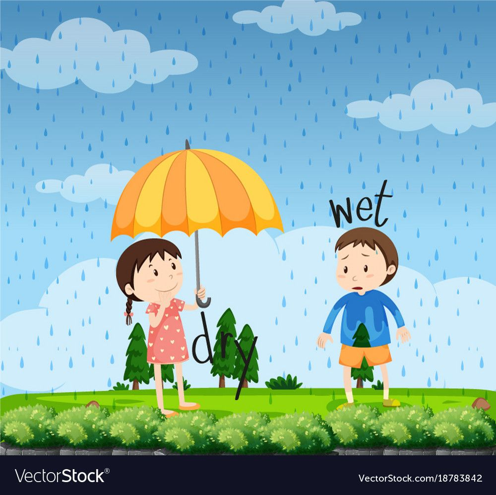 Opposite Words For Wet And Dry Royalty Free Vector Image Opposite Words Wet And Dry Flashcards For Kids [ 997 x 1000 Pixel ]