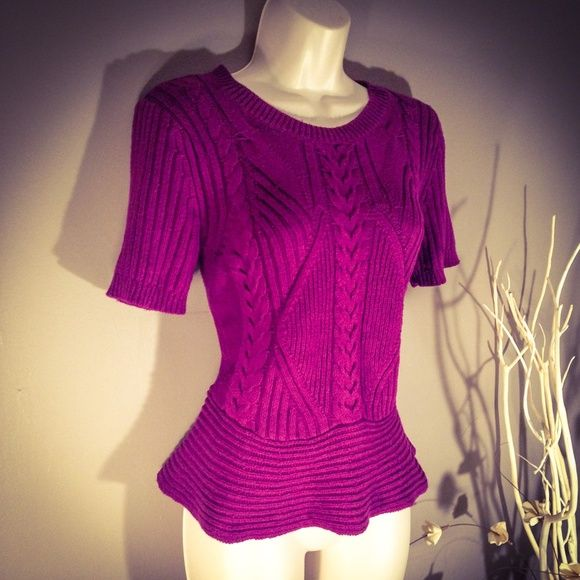 NWT Purple Peplum Knit Sweater Size S So pretty! Boutique Sweaters