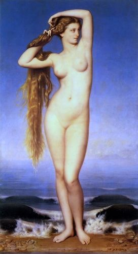 The Birth of Venus - La Naissance de Venus Eugene Emmanuel Amaury Duval Venus with her lovely long golden hair flowing down her back. http://www.femme-classic-art.com/Venus-01/La-Naissance-de-Venus-Eugene-Emmanuel-Amaury-Duval-Art.html