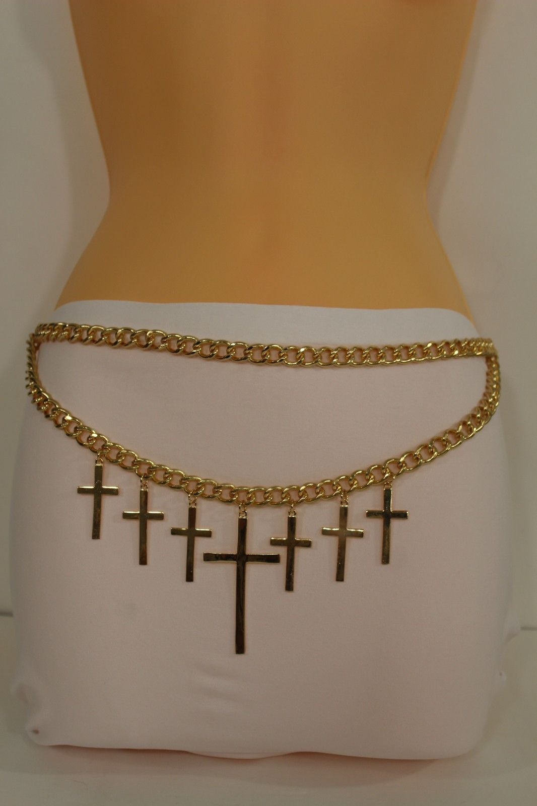 Women Fashion Belt Gold Metal Chunky Chains Links Big Cross