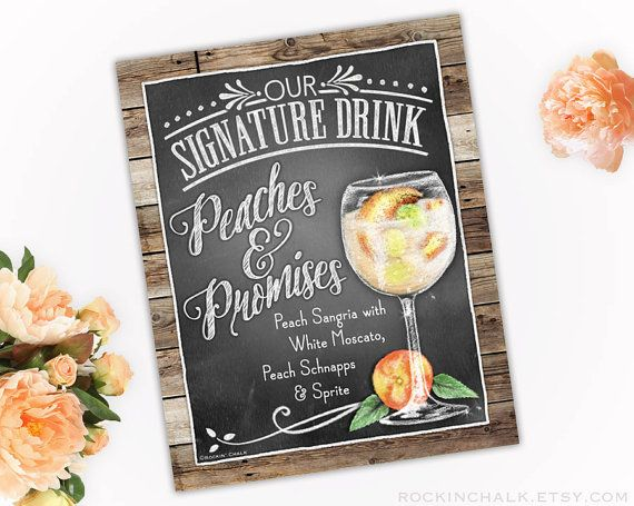 8 x 10 Signature Drink Sign   Peach Sangria Drink Peaches and Promises Unframed, Laser Printed Art on Card Stock  AS IT IS The base price of this listing is for the sign pictured in the first image (PIC #1) of this listing, as it is, with NO CHANGES to the header, text or illustration. (You may select a border from the choices shown in PIC #5.)  UPGRADE & PERSONALIZE IT Go beyond changing only the border & purchase the upgrade which allows you to personalize any or all of the wording (as…