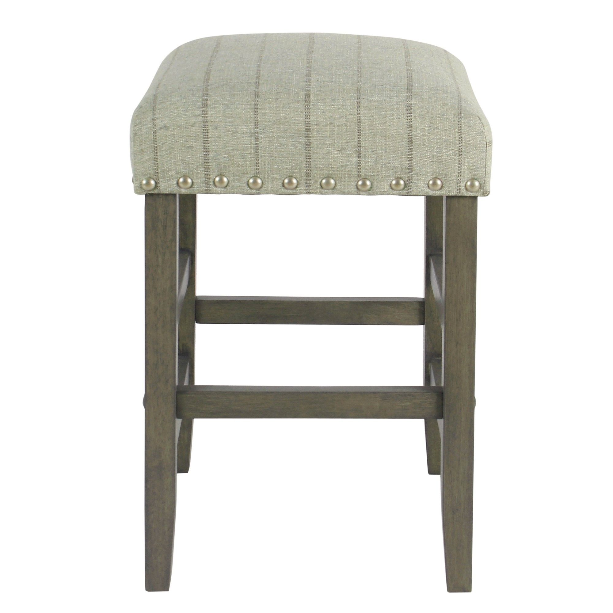 24 Backless Counter Stool With Nailheads Gray With Brown Stripe