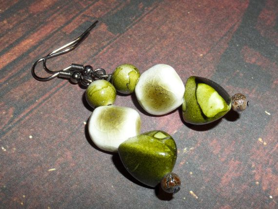 Green Handmade Dangle Earrings by charmed4you on Etsy, $5.00