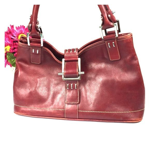 Dark Red Leather Handbag | Luggage And Suitcases