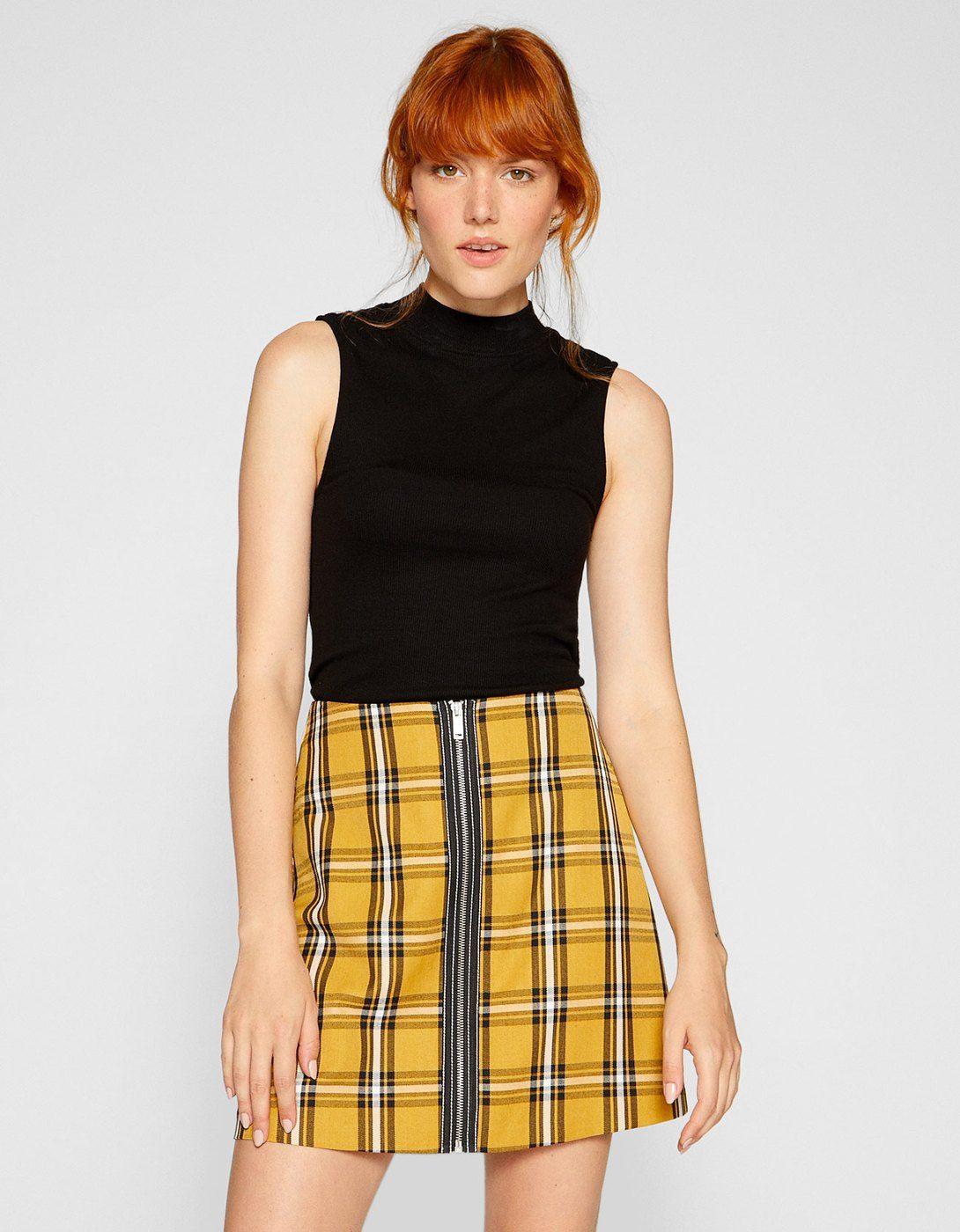 b89578936e Checked mini skirt with zip - null | Stradivarius United Kingdom - Summer  Sale 2018