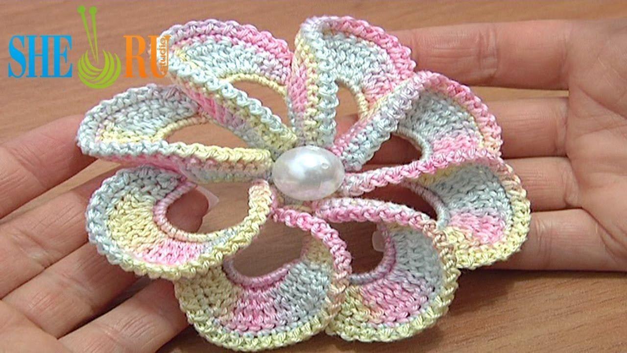 crochet tutorial - 3D Spiral 8-Petal Flower | Knit & Crochet ...