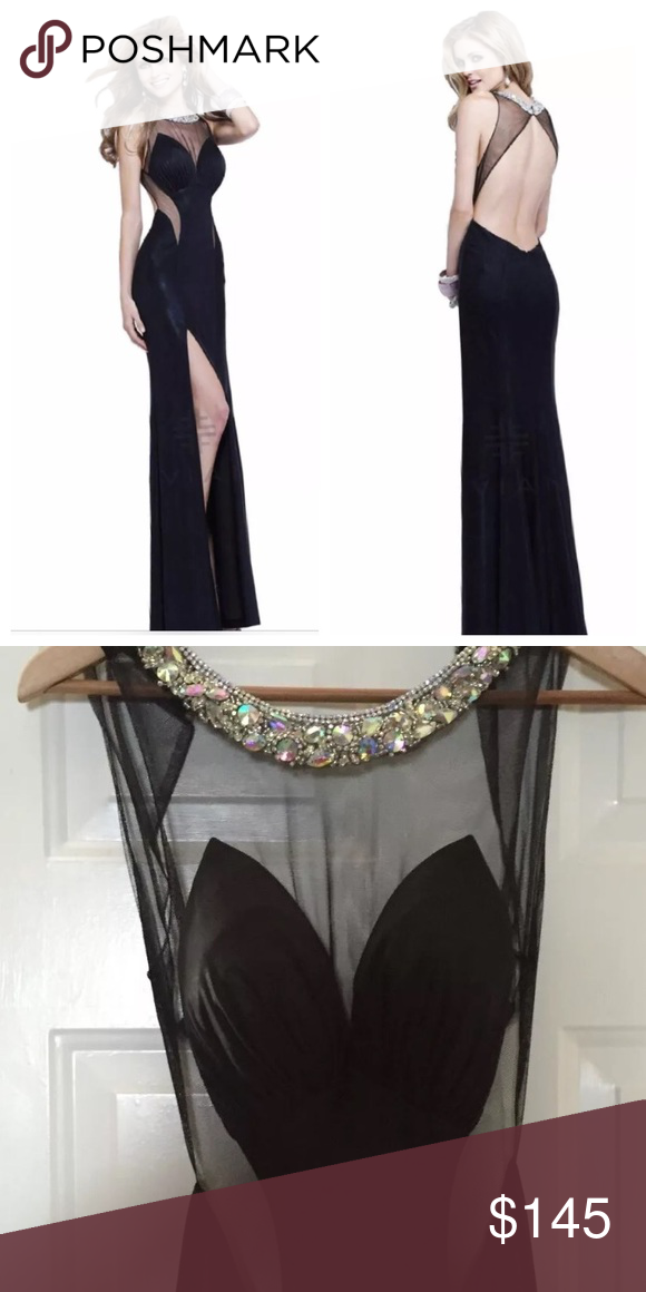 """Faviana full length gown. Size 2 Full length Faviana evening gown, jersey with mesh cut outs and low back. This gown has only been altered in length a little bit to fit girl 5'8"""" with 4"""" heels. Great condition. Faviana Dresses Prom"""