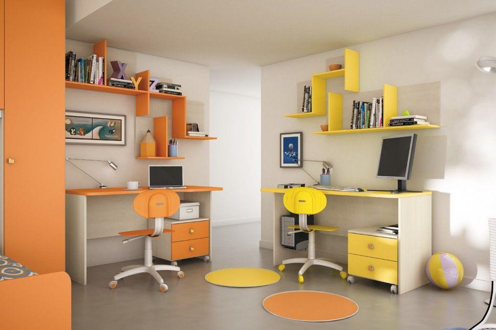 Demir Camerette ~ Camerette target scrivania in olmo bianco melone e mimosa