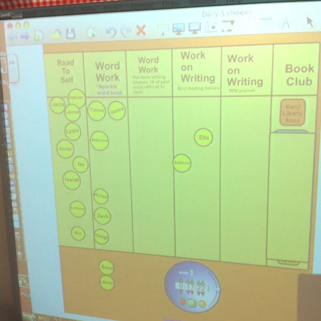using the smart board to track daily 5 activity