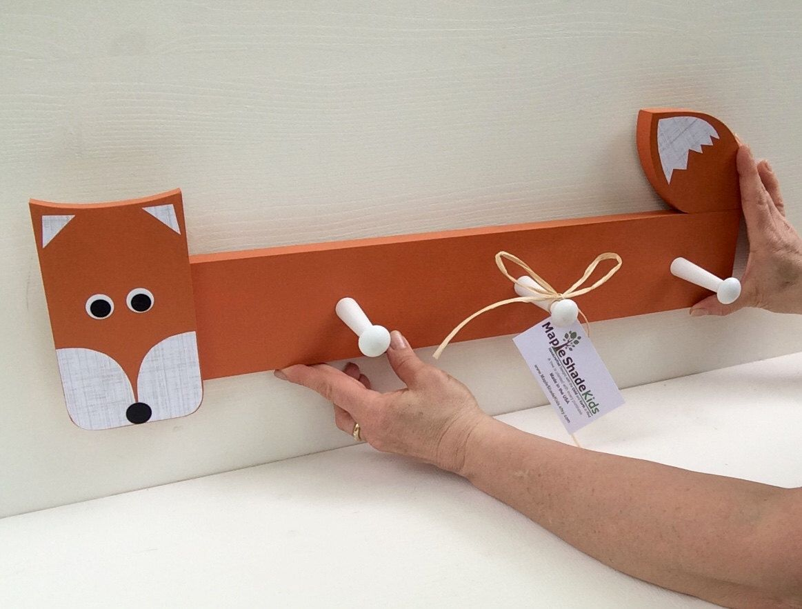 Fox Peg Rack Wall Hook Coat Nursery Decor Woodland Themed Kids Orange Eco Friendly By Mapleshadekids On
