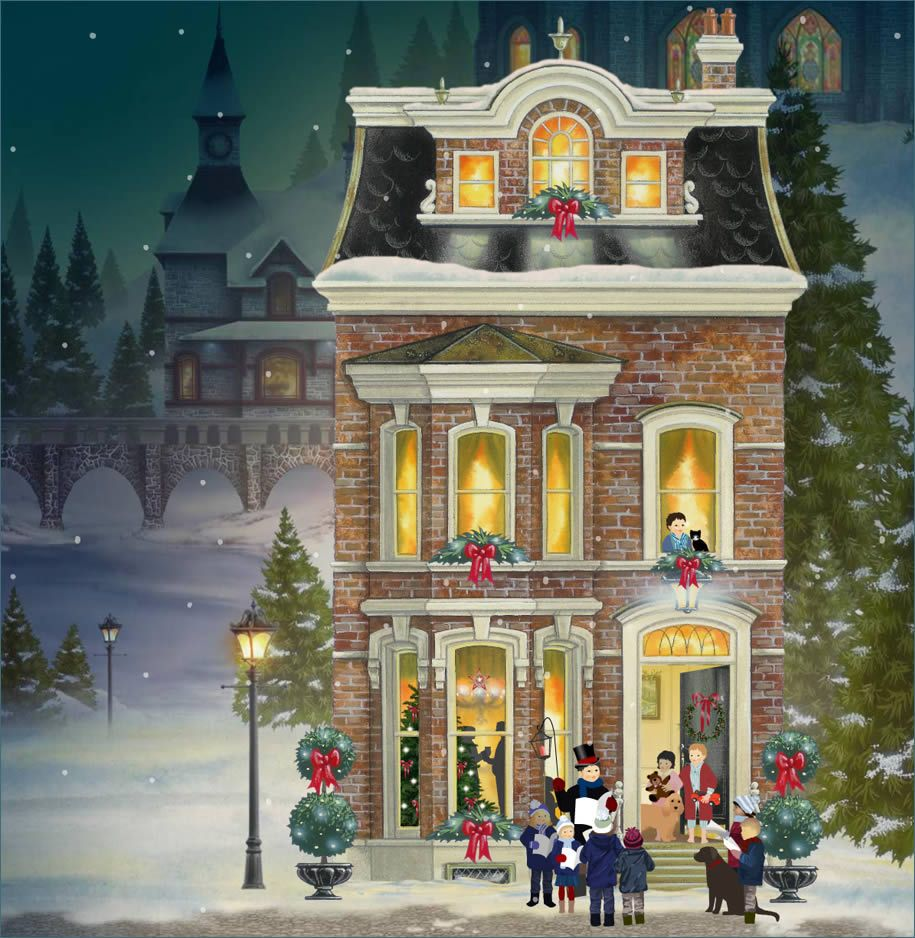 This artists\' depiction of a Victorian period scene with carolers at ...
