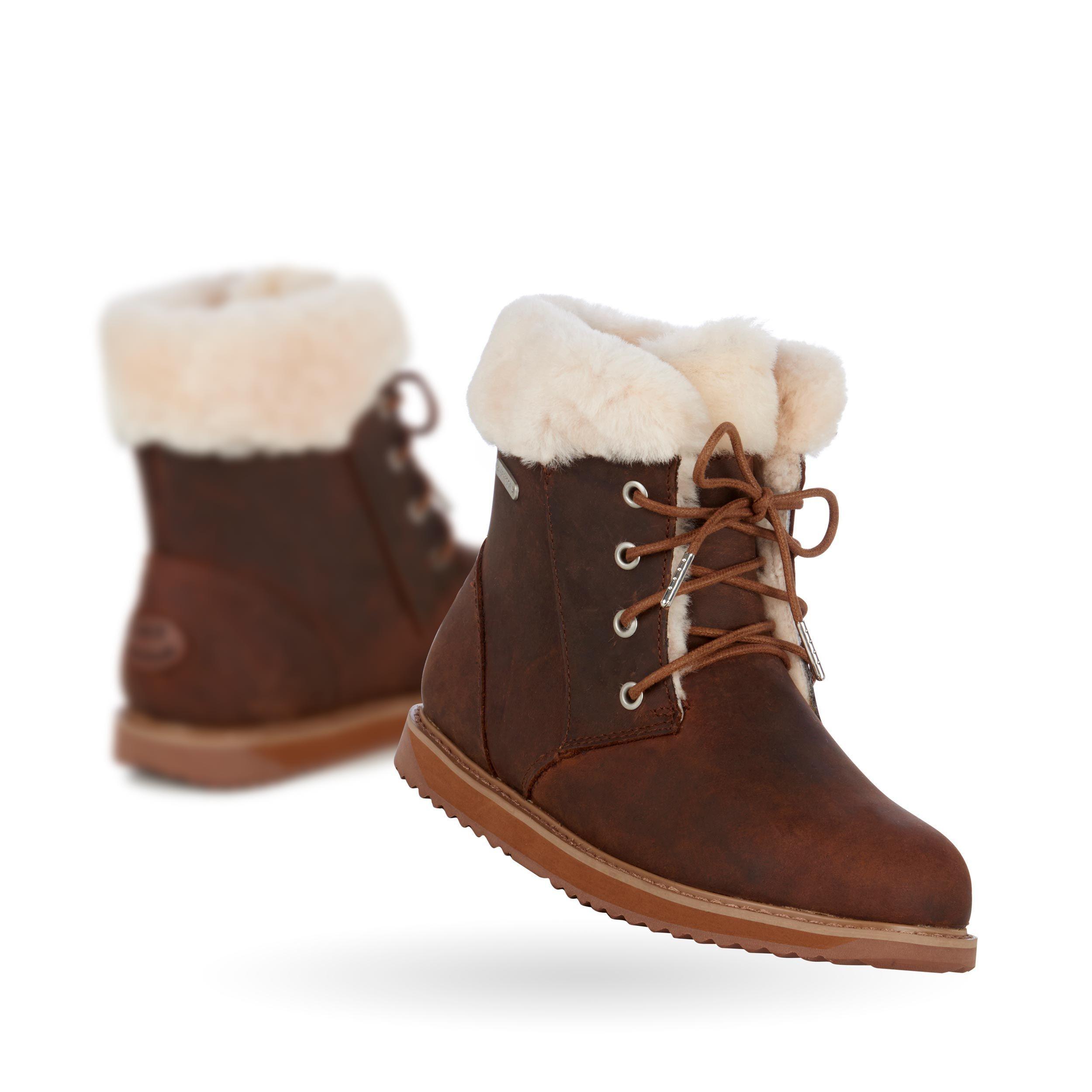 sheepskin lace up boots