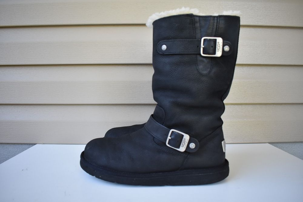 e73e92f9e99 Details about Womens UGG Australia Size 8 Kensington Black Leather ...