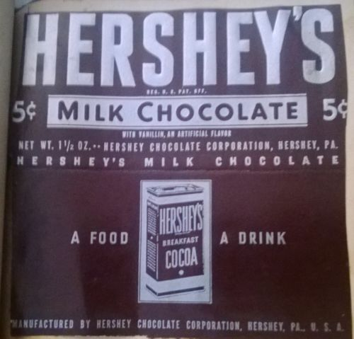 Vintage 5 Cent 1930s 1940s Hersheys Milk Chocolate Bar Candy Wrapper Hershey Milk Chocolate Bar Hersheys Chocolate Milk