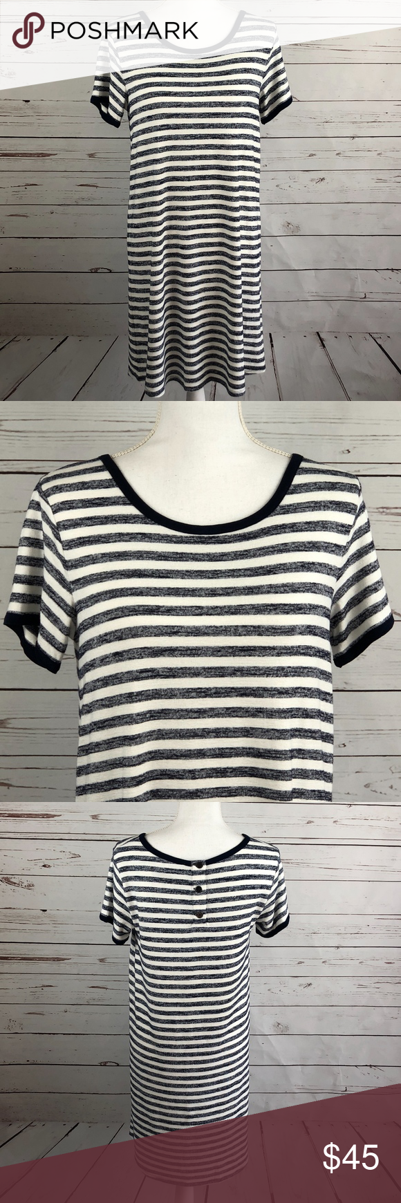 46c8bd4eddbe8 Market & Spruce Britta T-shirt Dress Stitch Fix Cute and comfy option for  warmer weather. Striped t-shirt dress with buttons in the back from Market  and ...