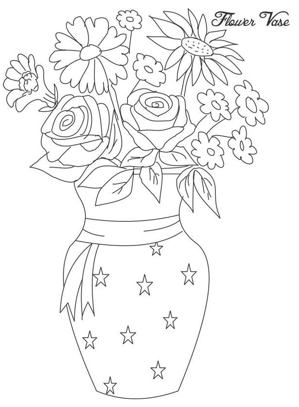 Flower In Vase From Beautiful Flower Bouquet Coloring Page Flower Vase Drawing Pencil Flower In 2020 Flower Vase Drawing Unique Flower Vases Flower Coloring Pages