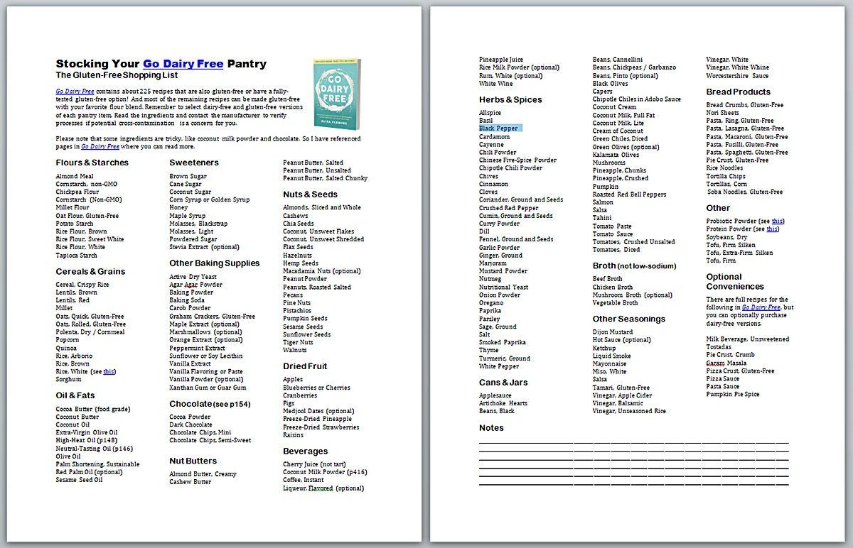 Go dairy free pantry stocking printables with vegan
