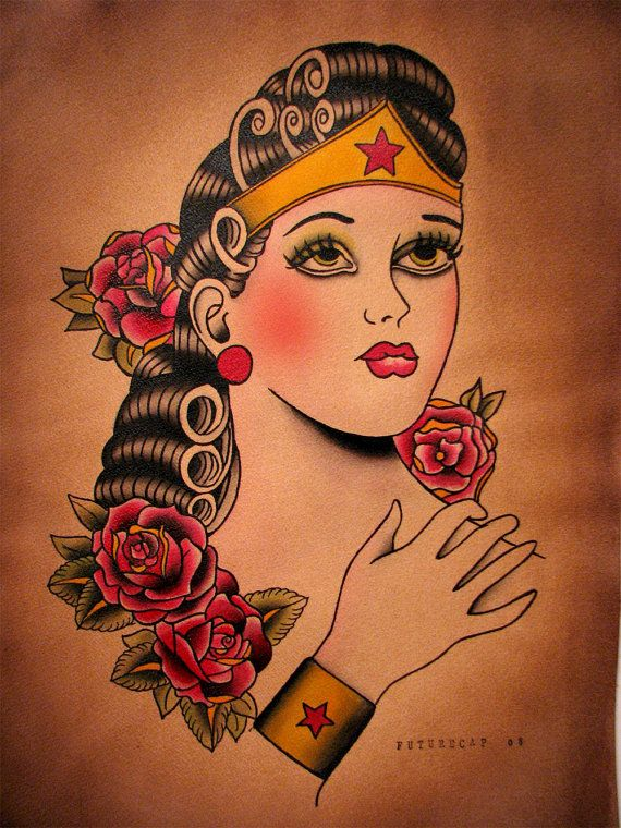 c84dbf8b8 Vintage Style Traditional American Wonder Woman Tattoo Flash Painting Print  Poster