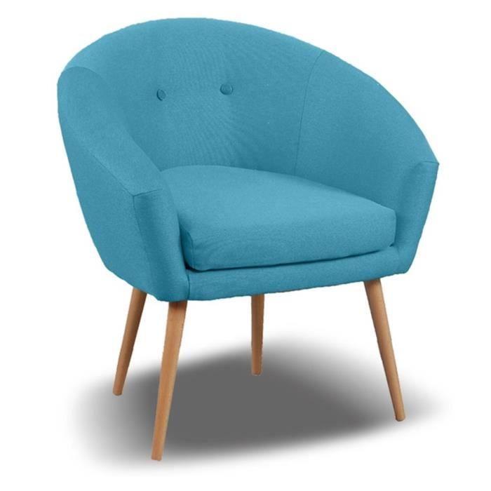 FAUTEUIL Fauteuil Switsofa Michigan Tissu Bleu Océan Appartement - Fauteuil tissu bleu