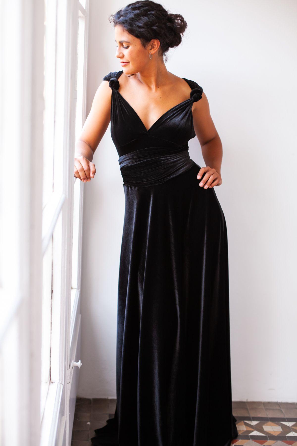 Black Velvet Dress Infinity Dress For Special Events Elegant Multiposition Dress Black Bridesmaid Dresses Long Black Velvet Dress Long Velvet Dress Long [ 1800 x 1200 Pixel ]