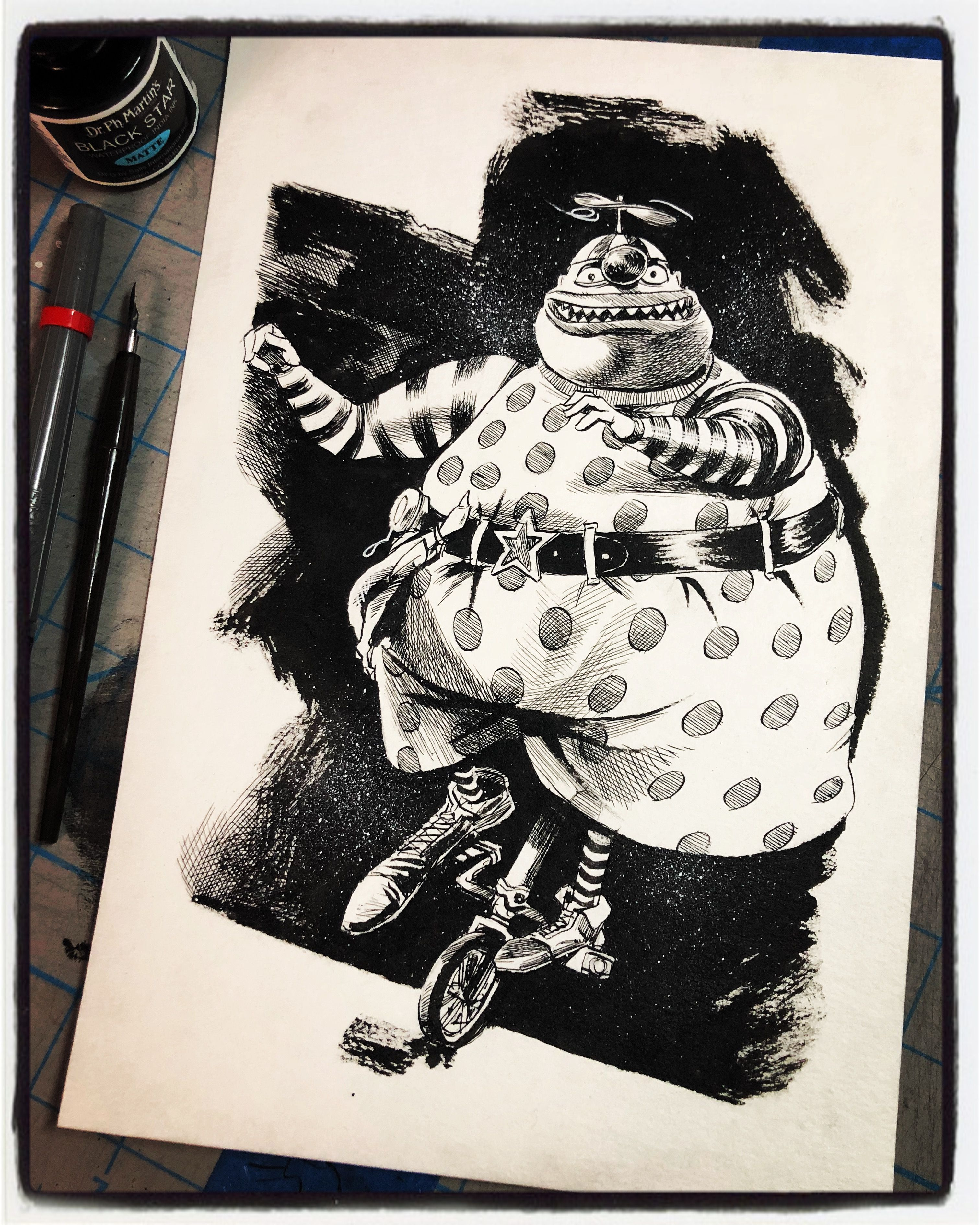 Nightmare Before Christmas Clown With A Tear Away Face.Inktober 2018 Day Iv The Clown With The Tear Away Face