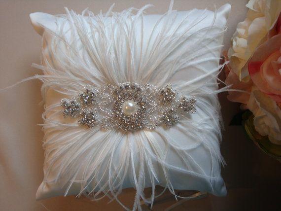Ivory Ring Bearer Pillow - Rhinestone Ring Bearer Pillow - Feather ...