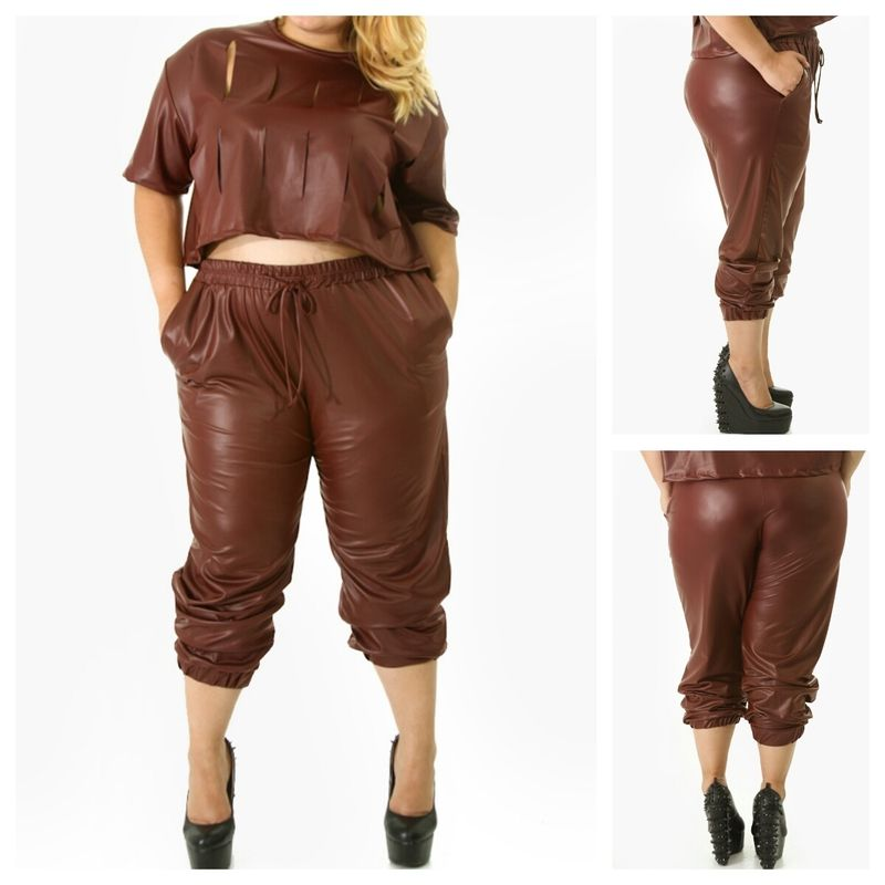 She's Bad Faux Leather Jogger Pants; Hover over main image to zoom. Customers also viewed. Black Faux Leather Girl Pants $ Couture Black Leather