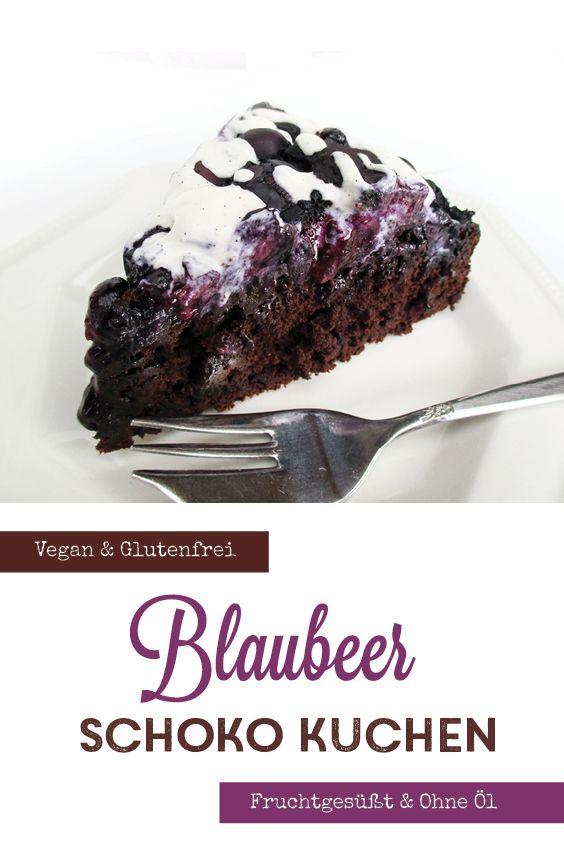Blaubeer Schokoladen Kuchen (Vegan, Glutenfrei, ohne Kristallzucker, Low-Fat) – essen